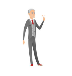 Caucasian businessman showing victory gesture vector
