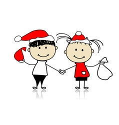 Children with christmas gifts vector image vector image