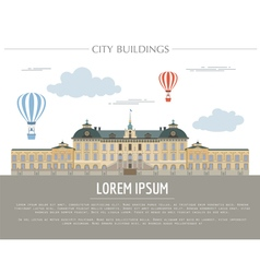 City buildings graphic template Royal Palace vector image vector image