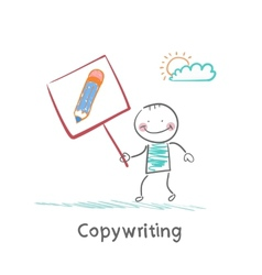 Copywriter is holding a plate with a pencil vector