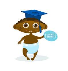 Cute african american baby boy weating graduation vector