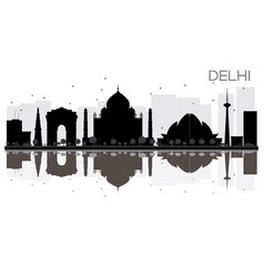 delhi city skyline black and white silhouette vector image vector image