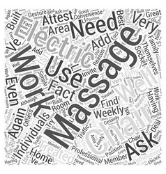 electric massage chair Word Cloud Concept vector image vector image