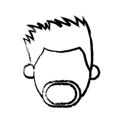 Faceless head man mustache beard people sketch vector