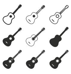 Guitar icon set vector image