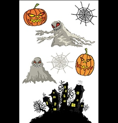 Halloween pumpkins cartoon ghost and haunted castl vector