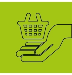 Hand hold basket shop e-commerce icon vector