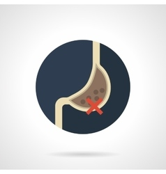 Harm to stomach round flat color icon vector image