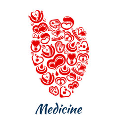 heart poster of cardiology and blood items vector image vector image
