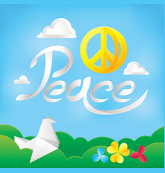 Hippie peace symbol on a nature background vector