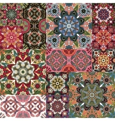 Islamic damask backgrounds colorful set beautiful vector