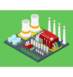 Isometric building industrial factory with pipes vector