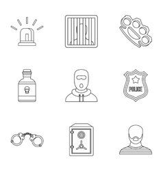 Lawlessness icons set outline style vector image vector image