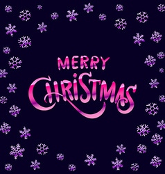 Merry Christmas pink glittering lettering design vector image vector image