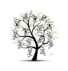 Monkey tree for your design Symbol of 2016 year vector image