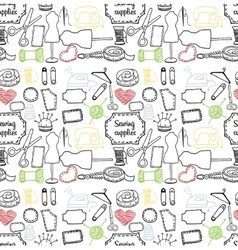 Pattern sewing accessory doodle vector