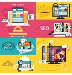 Seo optimization and web design banners vector