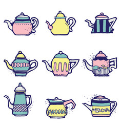 Set of hand drawn vintage tea pots vector