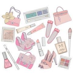 shoes makeup and bags element set vector image