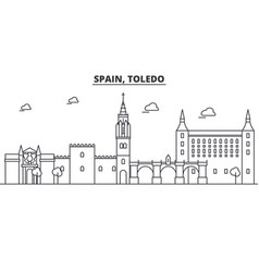 Spain toledo architecture line skyline vector