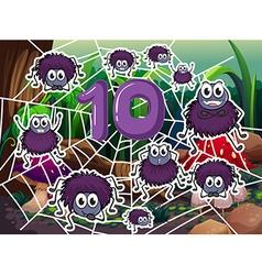 Ten spiders around number ten vector
