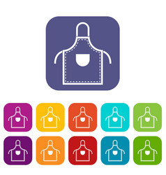 Welding apron icons set flat vector
