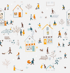winter seamless pattern with people walking in vector image
