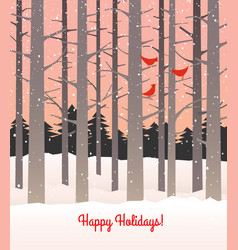 Woods in winter with falling snow and cardinals vector