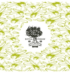 Olive oil label and frame with pattern vector