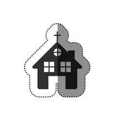 sticker of black silhouette of church in white vector image