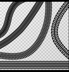 Different tire car and bike tracks isolated on vector
