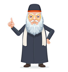 oriental sage priest mage rabbi beard old mystery vector image