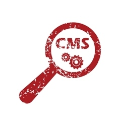 Cms search red grunge icon vector