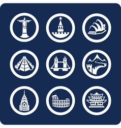 World famous places icons vector