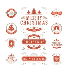 Christmas labels and badges design vector