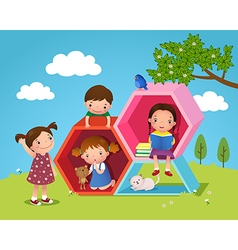 Kids playing and reading with hexagon shaped in vector