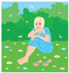 girl on a grass vector image