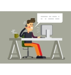 Man and pc in office vector