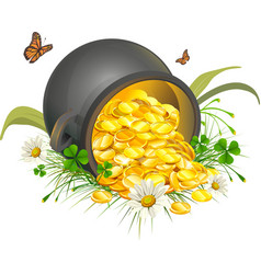 Overturned pot of gold coins cauldron of gold vector