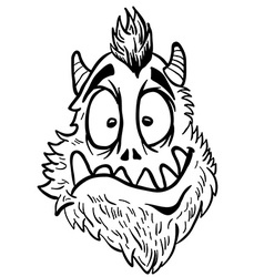 Simple black and white funny looking monster vector
