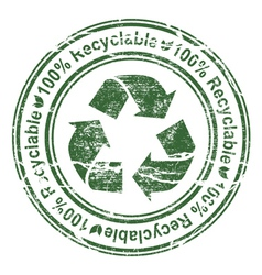 grunge stamp with recycle sign vector image