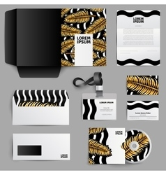 Corporate identity design with gold palm leaves vector