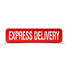 Express delivery red 3d square button isolated on vector