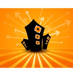 Speakers on orange background vector