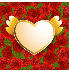 background with red roses and heart vector image vector image