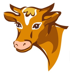 bright brown smiling cow portrait vector image