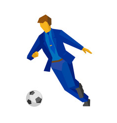 Businessman football player running with the ball vector