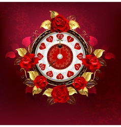 Clock with red roses vector