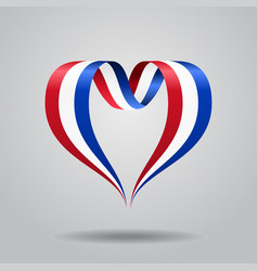 Dutch flag heart-shaped ribbon vector