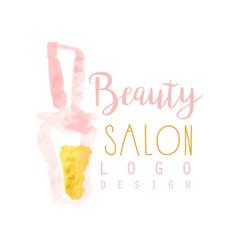 Feminine beauty salon logo design label with vector